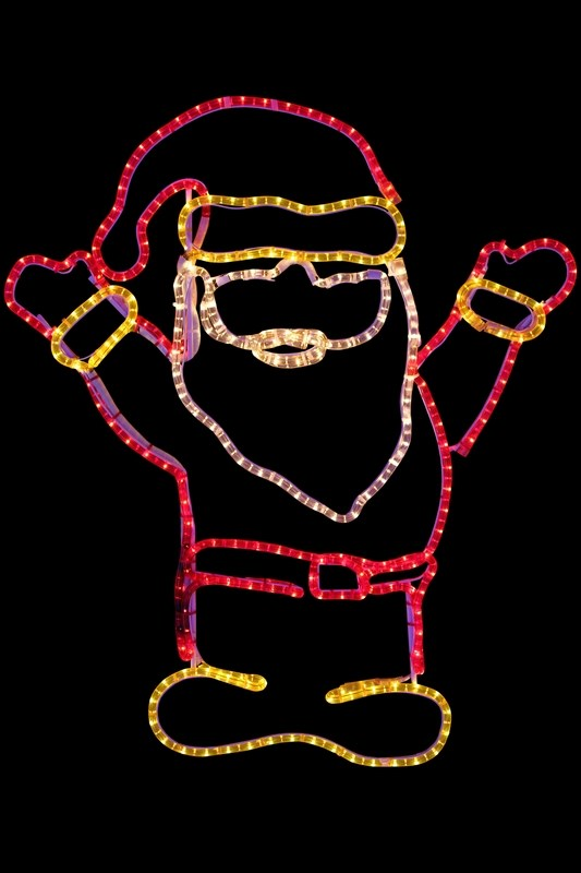 Фигура Neon-Night Дед Мороз. Привет!, 83 х 69 см501-318Для изготовления фигуры Neon-Night Дед Мороз. Привет! используют светодиодный дюралайт и металлический каркас. Этим способом можно создавать световые фигуры любой формы - от снеговиков и снежинок до красочных надписей. Сегодня на рынке более распространенными являются фигуры с применением дюралайта, основанного на лампах накаливания. Но они обладают яркостью, не отвечающей запросам современных дизайнеров, и очень недолговечны. Поэтому световые изделия высочайшего качества, выполненные на основе отлично себя зарекомендовавших светодиодов, более выгодны. Такая продукция несколько дороже ламповой, но ее отличает высокая надежность, долговечность и низкое энергопотребление. А наиболее впечатляющим достоинством фигур из светодиодного дюралайта является несравнимая с лампами яркость. Сочные, красочные цвета свечения таких LED фигур открывают невообразимые просторы для творчества световым дизайнерам, отвечающим за праздничное настроение.