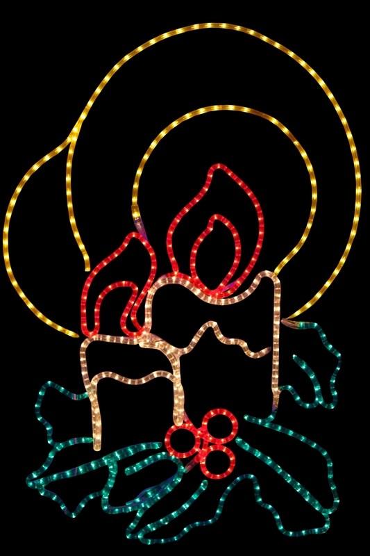 Фигура Neon-Night Две свечи, 100 х 75 см501-320Эти изделия не потребуют дополнительных затрат для монтажа. Световые фигуры с дюралайтом нужно просто установить в желаемом месте и подвести питание 220 В. Потребление 181 Вт.