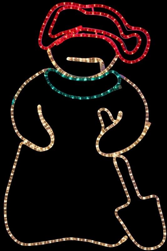 Фигура Neon-Night Снеговик с лопатой, 94 х 63 см501-321Фигуры из дюралайта. Для изготовления данных фигур используют светодиодный дюралайт и металлический каркас. Этим способом можно создавать световые фигуры любой формы – от снеговиков и снежинок до красочных надписей. Сегодня на рынке более распространенными являются фигуры с применением дюралайта, основанного на лампах накаливания. Но они обладают яркостью, не отвечающей запросам современных дизайнеров, и очень недолговечны. Поэтому своим клиентам мы предлагаем световые изделия высочайшего качества, выполненные на основе отлично себя зарекомендовавших светодиодов. Такая продукция несколько дороже ламповой, но ее отличает высокая надежность, долговечность и низкое энергопотребление. А наиболее впечатляющим достоинством фигур из светодиодного дюралайта является несравнимая с лампами яркость. Сочные, красочные цвета свечения таких LED фигур открывают невообразимые просторы для творчества световым дизайнерам, отвечающим за праздничное настроение. Созданные на основе светодиодного дюралайта