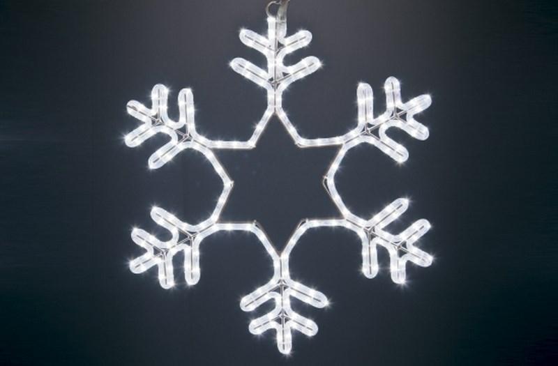 Фигура световая Снежинка цвет белый, без контр. размер 55*55см501-334Эти изделия не потребуют дополнительных затрат для монтажа. Световые фигуры с дюралайтом нужно просто установить в желаемом месте и подвести питание 220 В. Фигура светодиодная Снежинка LED белая, размер 55*55 см
