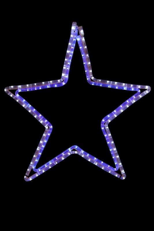 Фигура световая Звезда цвет белая/синяя, размер 56 х 60 см501-514Фигуры из дюралайта. Для изготовления данных фигур используют светодиодный дюралайт и металлический каркас. Этим способом можно создавать световые фигуры любой формы – от снеговиков и снежинок до красочных надписей. Сегодня на рынке более распространенными являются фигуры с применением дюралайта, основанного на лампах накаливания. Но они обладают яркостью, не отвечающей запросам современных дизайнеров, и очень недолговечны. Поэтому своим клиентам мы предлагаем световые изделия высочайшего качества, выполненные на основе отлично себя зарекомендовавших светодиодов. Такая продукция несколько дороже ламповой, но ее отличает высокая надежность, долговечность и низкое энергопотребление. А наиболее впечатляющим достоинством фигур из светодиодного дюралайта является несравнимая с лампами яркость. Сочные, красочные цвета свечения таких LED фигур открывают невообразимые просторы для творчества световым дизайнерам, отвечающим за праздничное настроение. Созданные на основе светодиодного дюралайта