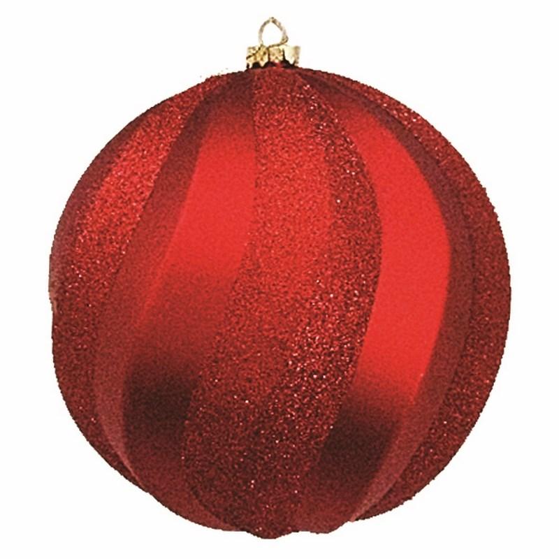Украшение новогоднее подвесное Neon-Night Шар Вихрь, цвет: красный, 20 см502-062Елочная фигура Шар Вихрь, 20 см, цвет красный матовый и с блестками