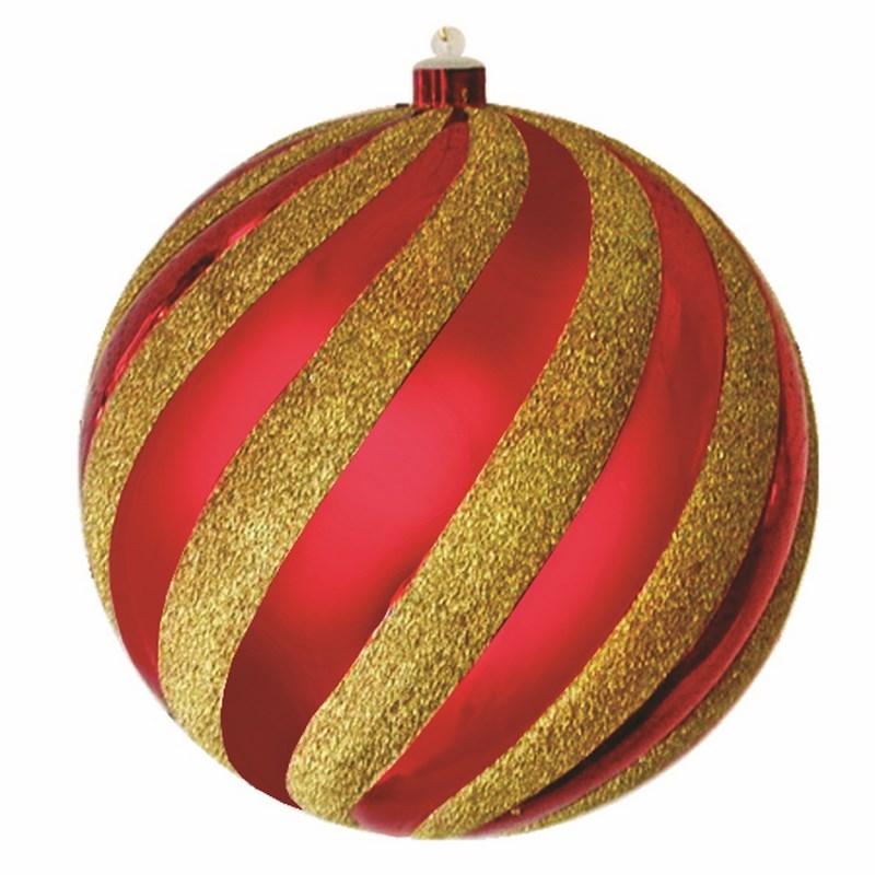 Украшение новогоднее подвесное Neon-Night Шар-карамель, цвет: красный, золотой, 20 см502-068Елочная фигура Шар-карамель, 20 см, цвет красный глянцевый и золотые блестки