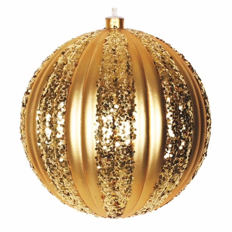 Украшение новогоднее подвесное Neon-Night Полосатый шар, цвет: золотой, 20 см502-071Елочная фигура Полосатый шар, 25 см, из пластика, цвет золотой матовый, полоски золотые с блестками