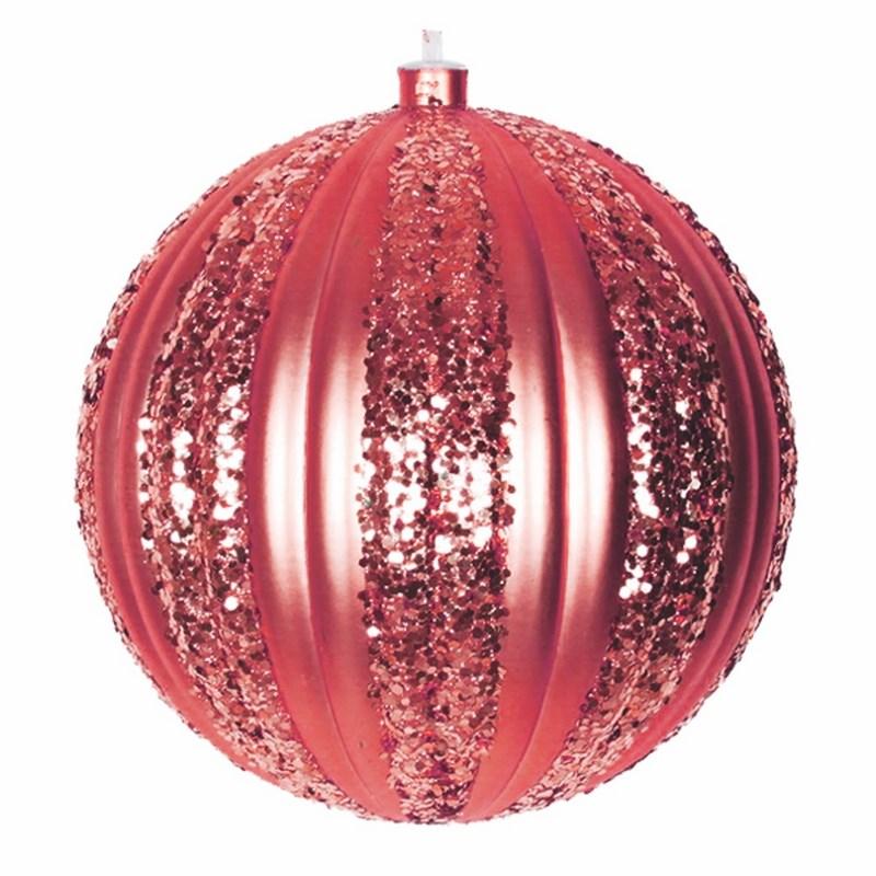 Украшение новогоднее подвесное Neon-Night Полосатый шар, цвет: красный, 20 см502-072Елочная фигура Полосатый шар, 20 см, из пластика, цвет красный матовый, полоски красные с блестками