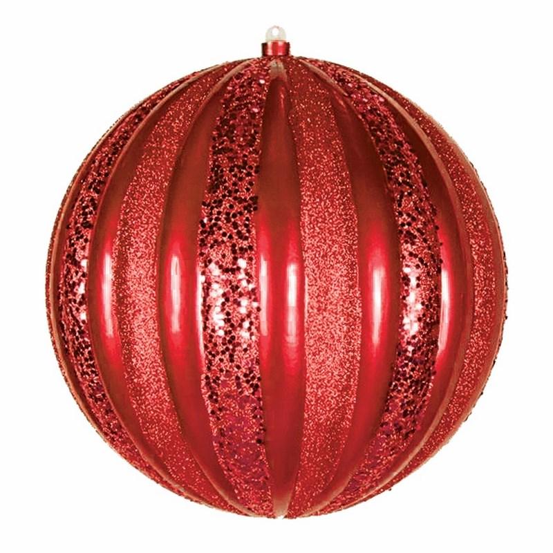 Украшение новогоднее подвесное Neon-Night Арбуз, цвет: красный, 25 см502-082Елочная фигура Арбуз, 30 см, из пластика, цвет красный матовый и с блестками