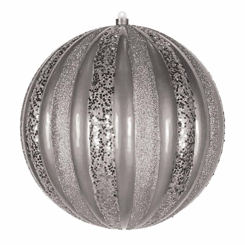 Украшение новогоднее подвесное Neon-Night Арбуз, цвет: серебряыный, 25 см502-086Елочная фигура Арбуз, 30 см, из пластика, цвет серебряный матовый и с блестками
