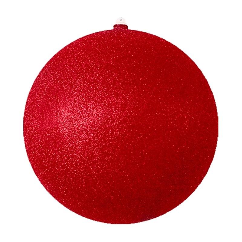 Украшение новогоднее подвесное Neon-Night Шарик, цвет: красный, 30 см502-152Елочная фигура Шарик, 30 см, цвет красный с блестками, из пластика