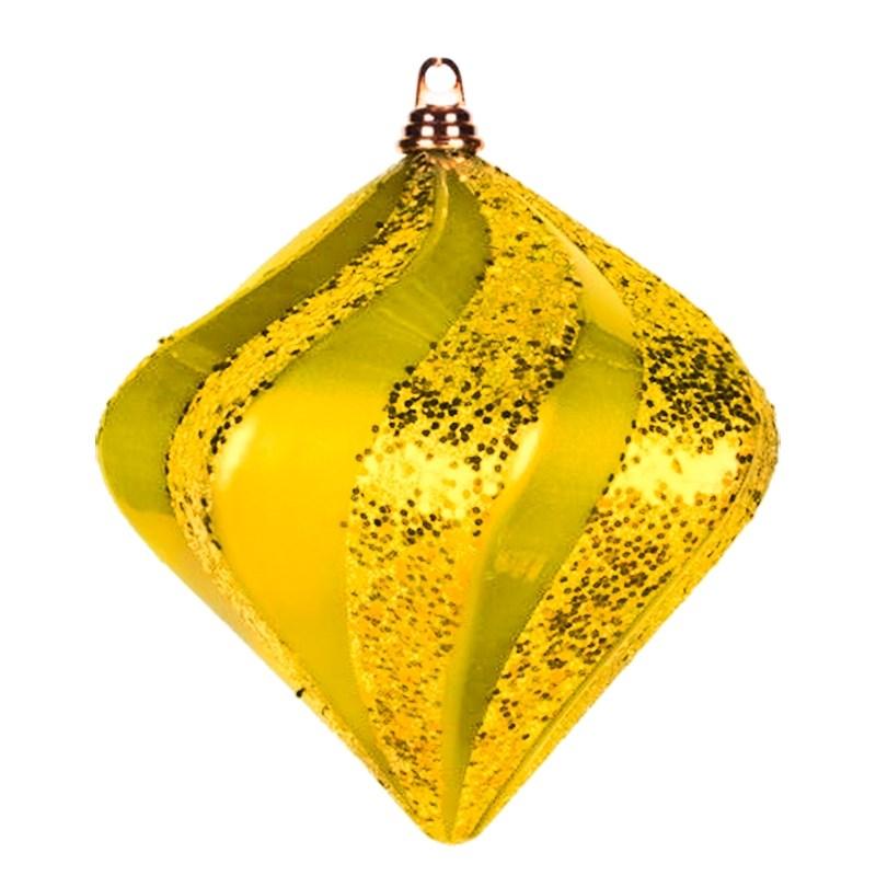 Украшение новогоднее подвесное Neon-Night Алмаз, цвет: золотой, 15 см502-161Елочная фигура Алмаз, 15 см, из пластика, цвет золотой матовый и глянцевый