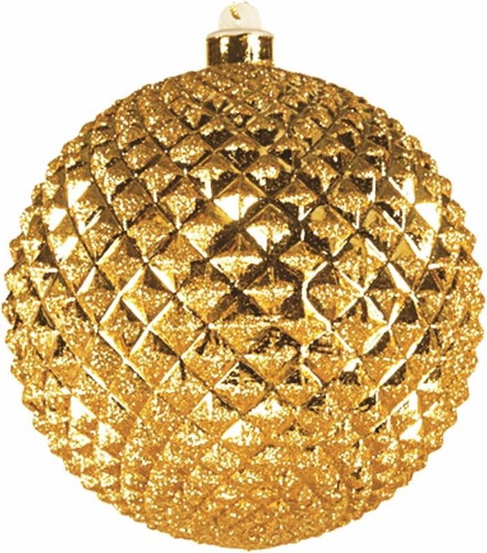 Украшение новогоднее подвесное Neon-Night Шар рельефный, цвет: золотой, 13 см502-200Елочная фигура Шар рельефный, 13 см, из пластика, цвет золотой матовый и глянцевый