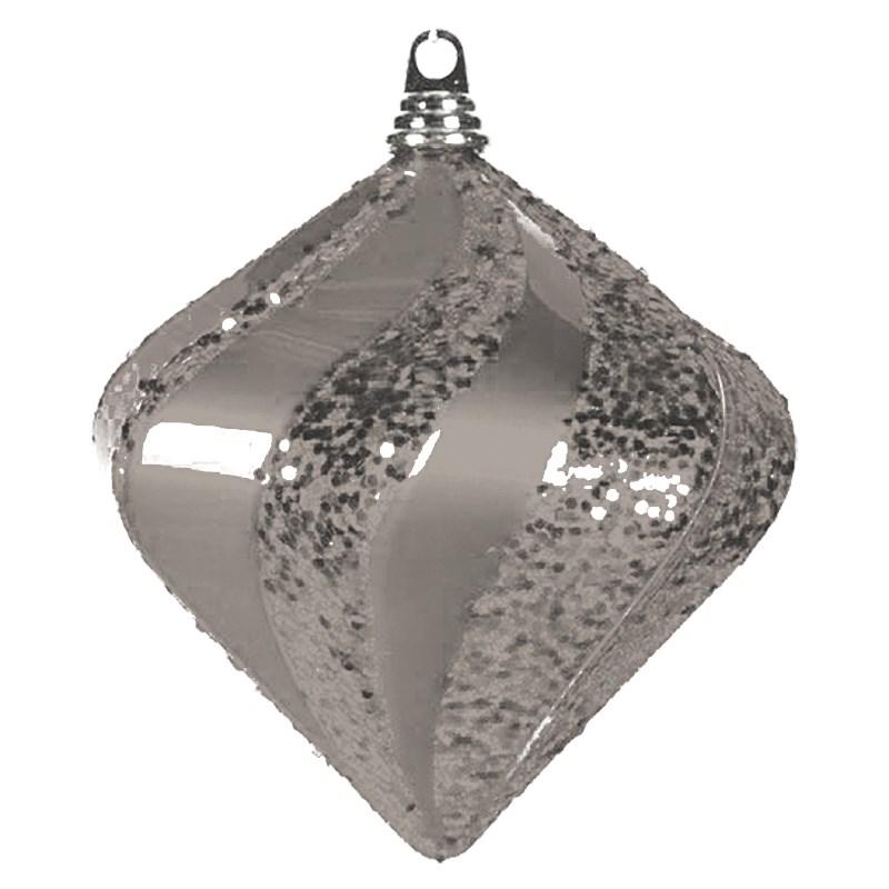 Украшение новогоднее подвесное Neon-Night Алмаз, цвет: серебряный, 25 см502-216Елочная фигура Алмаз, 25 см, из пластика, цвет серебряный матовый и глянцевый