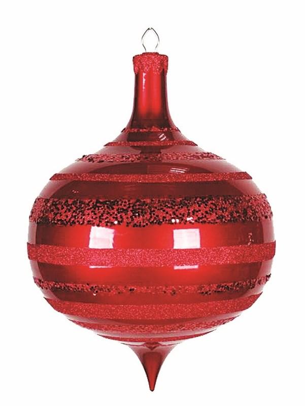 Украшение новогоднее подвесное Neon-Night Юла, цвет: красный, 30 см502-222Елочная фигура Юла, 30 см, цвет красный с горизонтальными полосками из блесток