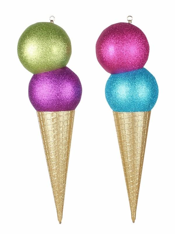 Украшение декоративное Neon-Night Мороженное, цвет: мульти, 80 см502-249Елочная фигура Мороженное 80 см, из пластика, цвет рожка: золотой с блестками, цвет шариков: голубой и фиолетовый или светло-зеленый и фиолетовый