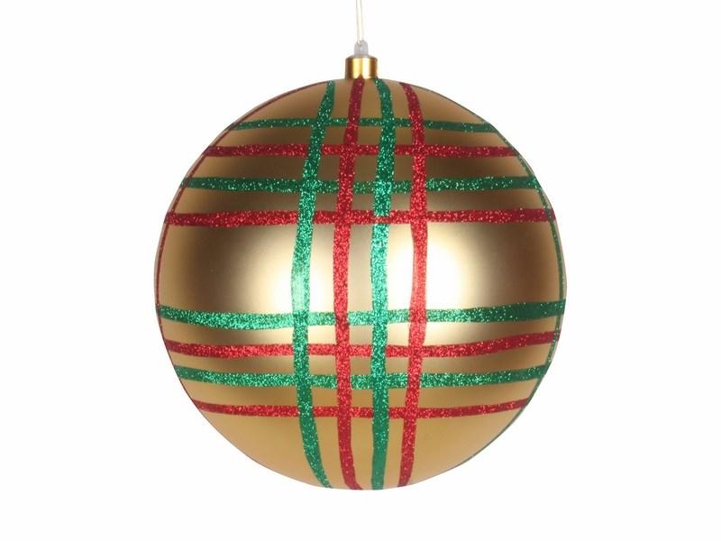 Украшение новогоднее подвесное Neon-Night Шар в клетку, цвет: золотой, 25 см502-261Елочная фигура Шар в клетку, 25 см, из пластика, цвет золотой глянцевый, полоски мульти
