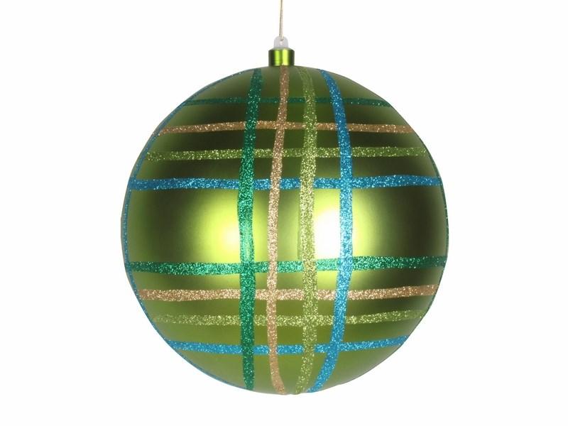 Украшение новогоднее подвесное Neon-Night Шар в клетку, цвет: зеленый, 25 см502-264Елочная фигура Шар в клетку, 25 см, из пластика, цвет зеленый глянцевый, полоски мульти