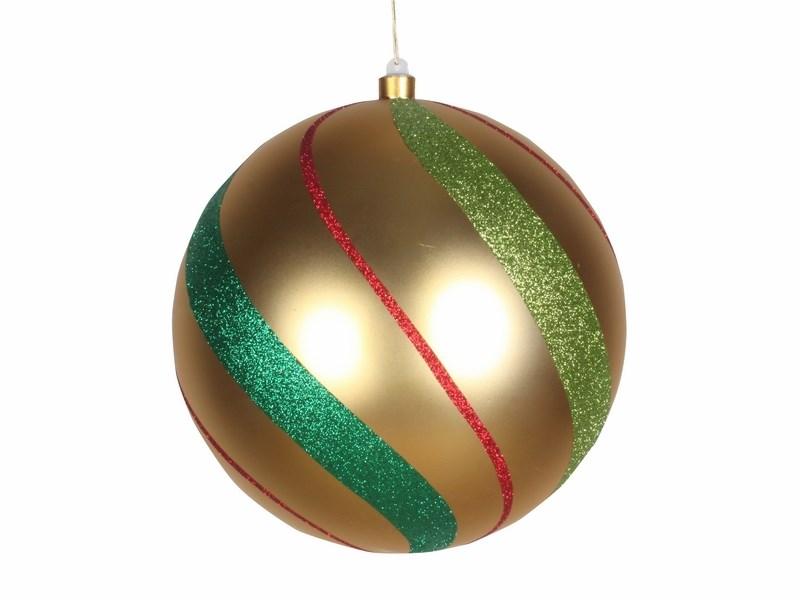 Украшение новогоднее подвесное Neon-Night Шар в полоску, цвет; золотой, зеленый, красный, 25 см502-266Новогоднее подвесное украшение Neon-Night отлично подойдет для декорации вашего дома и новогодней ели. Новогоднее украшение можно повесить в любом понравившемся вам месте. Но, конечно, удачнее всего оно будет смотреться на праздничной елке.Елочная игрушка - символ Нового года. Она несет в себе волшебство и красоту праздника. Такое украшение создаст в вашем доме атмосферу праздника, веселья и радости.