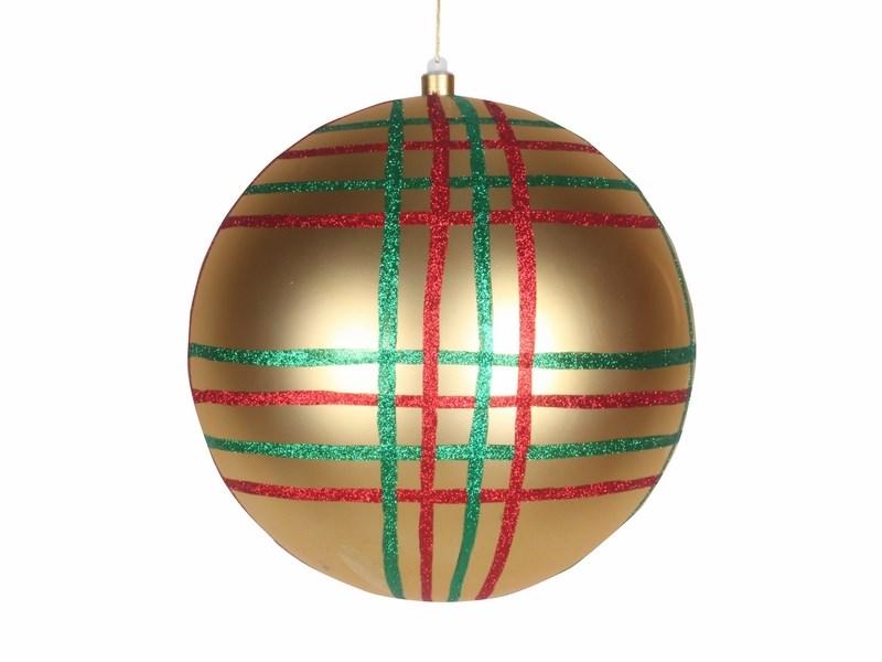 Украшение новогоднее подвесное Neon-Night Шар в клетку, цвет: золотой, 30 см502-271Елочная фигура Шар в клетку, 30 см, из пластика, цвет золотой глянцевый, полоски мульти