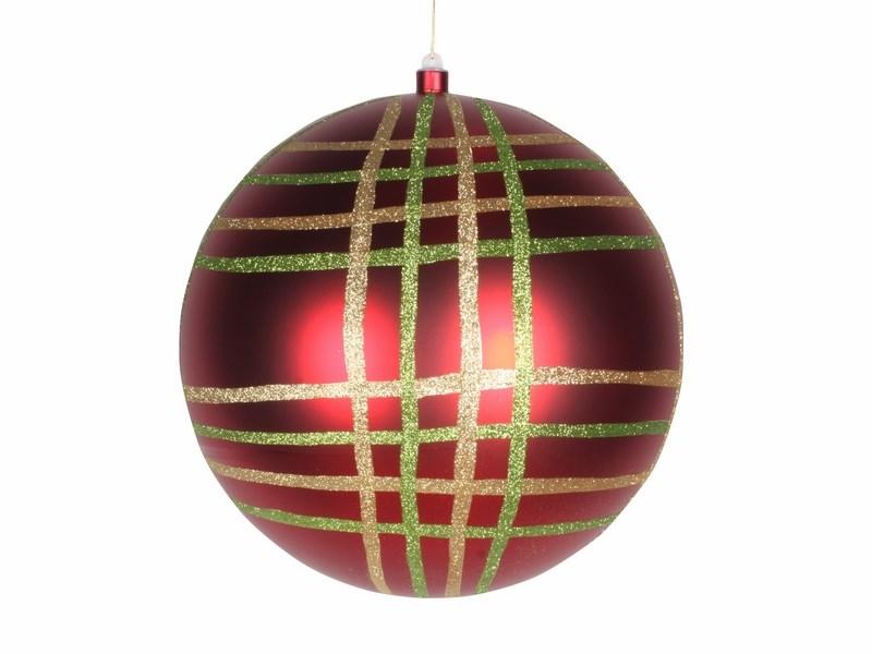 Украшение новогоднее подвесное Neon-Night Шар в клетку, цвет: красный, 30 см502-272Елочная фигура Шар в клетку, 30 см, из пластика, цвет красный глянцевый, полоски мульти