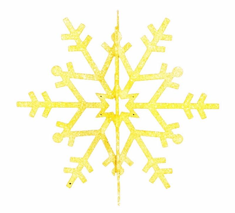 Украшение новогоднее подвесное Neon-Night Снежинка резная 3D, цвет: золотой, 31 см502-341Елочная фигура Снежинка резная 3D, 31 см, цвет золотой с блестками