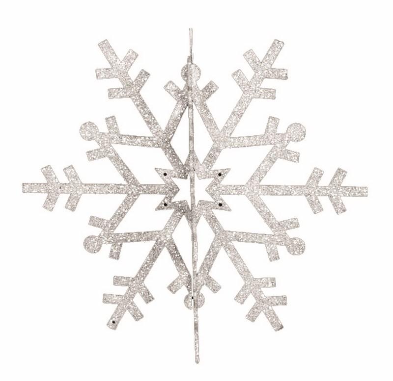 Украшение новогоднее подвесное Neon-Night Снежинка резная 3D, цвет: белый, 46 см502-355Елочная фигура Снежинка резная 3D, 46 см, цвет белый с блесками