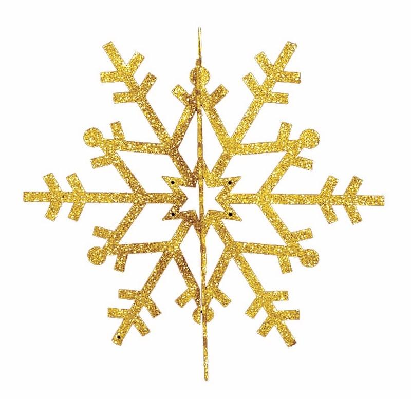 Украшение новогоднее подвесное Neon-Night Снежинка резная 3D, цвет: золотой, 61 см502-361Елочная фигура Снежинка резная 3D, 61 см, цвет золотой с блесками
