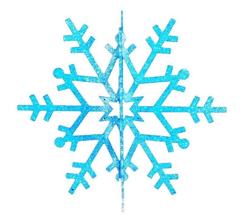 Украшение новогоднее подвесное Neon-Night Снежинка резная 3D, цвет: синий, 61 см502-363Елочная фигура Снежинка резная 3D, 61 см, цвет синий с блесками