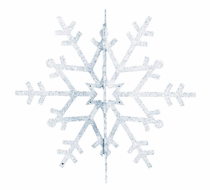 Украшение новогоднее подвесное Neon-Night Снежинка резная 3D, цвет: серебряный, 61 см502-366Елочная фигура Снежинка резная 3D, 61 см, цвет серебряный с блесками