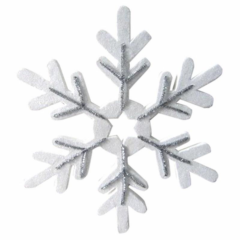 Украшение новогоднее подвесное Neon-Night Снежинка сказочная, цвет: серебряный, 40 см502-389Елочная фигура Снежинка сказочная 40 см, цвет серебряный с блестками, прожилки серебряные