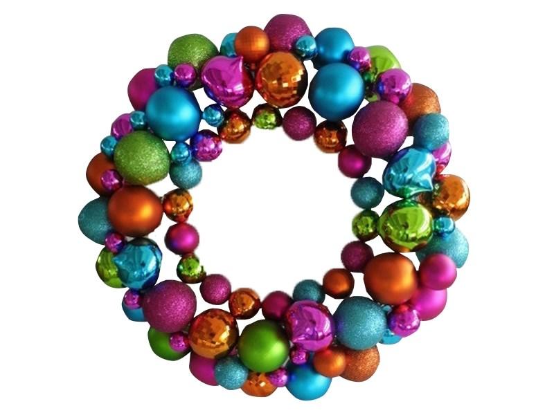 Украшение новогоднее подвесное Neon-Night Венок из шариков, цвет: мульти, 46 см новогоднее подвесное украшение собака ф21 1716