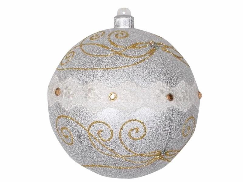 Украшение новогоднее подвесное Neon-Night Шар с узорами, цвет: серебряный, 14 см502-405Елочная фигура Шар с узорами 14 см, из пластика, цвет серебряный с узором