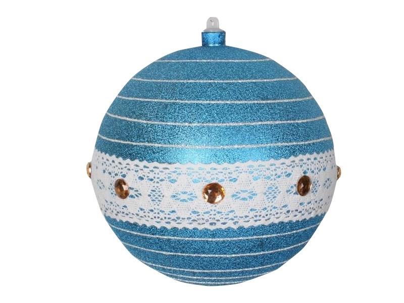 Украшение новогоднее подвесное Neon-Night Шар погремушка, цвет: синий, серебряный, 20 см502-413Елочная фигура Шар погремушка, 20 см, из пластика, цвет фигуры синий, с серебряными полосками