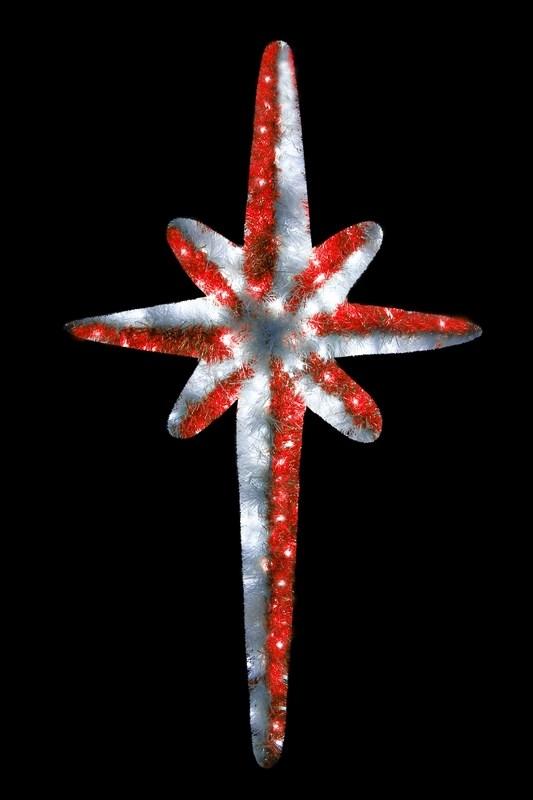 Фигура Neon-Night Звезда 8-ми конечная, LED подсветка, цвет: белый, красный, 120 см506-241Эти изделия не потребуют дополнительных затрат для монтажа. Световые фигуры с дюралайтом нужно просто установить в желаемом месте и подвести питание 220 В. Фигура VES-120 Звезда 8-ми конечная, LED подсветка высота 120см, красно-белая NEON-NIGHT