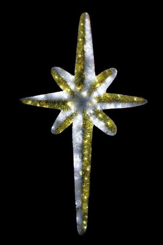 Фигура Neon-Night Звезда 8-ми конечная, LED подсветка, цвет: белый, золотой, 120 см506-242Эти изделия не потребуют дополнительных затрат для монтажа. Световые фигуры с дюралайтом нужно просто установить в желаемом месте и подвести питание 220 В. Фигура VES-120 Звезда 8-ми конечная, LED подсветка высота 120см, красно-белая NEON-NIGHT