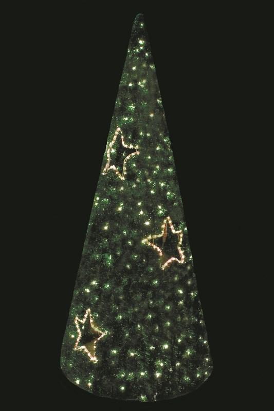 Ель светодиодная Neon-Night, цвет: зеленый, диаметр 80 см, высота 180 см506-251Фигуры из дюралайта. Для изготовления данных фигур используют светодиодный дюралайт и металлический каркас. Этим способом можно создавать световые фигуры любой формы – от снеговиков и снежинок до красочных надписей. Сегодня на рынке более распространенными являются фигуры с применением дюралайта, основанного на лампах накаливания. Но они обладают яркостью, не отвечающей запросам современных дизайнеров, и очень недолговечны. Поэтому своим клиентам мы предлагаем световые изделия высочайшего качества, выполненные на основе отлично себя зарекомендовавших светодиодов. Такая продукция несколько дороже ламповой, но ее отличает высокая надежность, долговечность и низкое энергопотребление. А наиболее впечатляющим достоинством фигур из светодиодного дюралайта является несравнимая с лампами яркость. Сочные, красочные цвета свечения таких LED фигур открывают невообразимые просторы для творчества световым дизайнерам, отвечающим за праздничное настроение. Созданные на основе светодиодного дюралайта