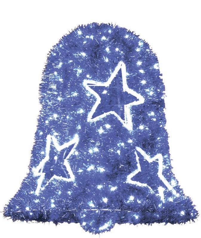 Фигура Neon-Night Колокол, LED подсветка, цвет: синий, диаметр 75 см, высота 80 см506-264Фигуры из дюралайта. Для изготовления данных фигур используют светодиодный дюралайт и металлический каркас. Этим способом можно создавать световые фигуры любой формы – от снеговиков и снежинок до красочных надписей. Сегодня на рынке более распространенными являются фигуры с применением дюралайта, основанного на лампах накаливания. Но они обладают яркостью, не отвечающей запросам современных дизайнеров, и очень недолговечны. Поэтому своим клиентам мы предлагаем световые изделия высочайшего качества, выполненные на основе отлично себя зарекомендовавших светодиодов. Такая продукция несколько дороже ламповой, но ее отличает высокая надежность, долговечность и низкое энергопотребление. А наиболее впечатляющим достоинством фигур из светодиодного дюралайта является несравнимая с лампами яркость. Сочные, красочные цвета свечения таких LED фигур открывают невообразимые просторы для творчества световым дизайнерам, отвечающим за праздничное настроение. Созданные на основе светодиодного дюралайта