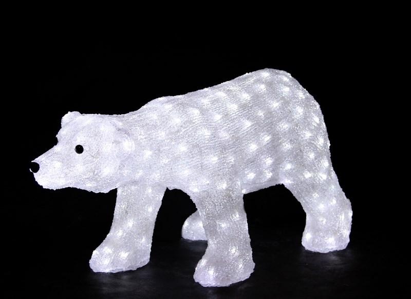 Фигура акриловая светодиодная Neon-Night Белый медведь, 270 LED, с понижающим трансформатором, цвет: белый, 81 х 41 х 45 см513-248Акриловые фигуры за несколько лет вызвали большой интерес у дизайнеров и частных клиентов. С каждым годом расширяется не только ассортимент акриловых фигур, но и появляются новые технологии нанесения акрила. Эти яркие, светящиеся объемные фигуры, состоящие из металлического каркаса, акрила и светодиодов, применяются для оформления и создания новогодней атмосферы в кафе, ресторанах, торговых центрах, магазинах, на площадях и перед входом, а также просто в частных домах и квартирах. Все фигуры укомплектованы понижающим трансформатором , что обеспечивает безопасность при контактировании, а так же имеют степень защиты IP 44, что позволяет использовать их как в помещении, так и на улице. Акриловая светодиодная фигура Белый медведь высотой 81 см, светящаяся более чем 200 ярких диодов, выполнена по специальной технологии нанесения акрила имитируя шерстяной покров реального животного. Она позволит Вам создать ту самую, настояющую новогоднюю атмосферу и принести сотни радостных улыбок.