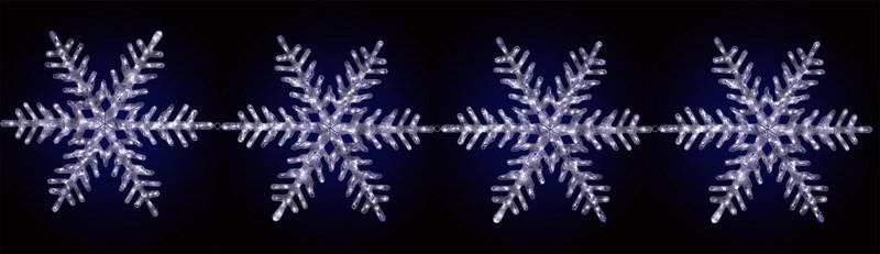 Акриловая фигура на каракасе Neon-Night 4 снежинки, светодиодная, 458 LED, с понижающим трансформатором, диаметр 80 см513-261Акриловые фигуры за несколько лет вызвали большой интерес у дизайнеров и частных клиентов. С каждым годом расширяется не только ассортимент акриловых фигур, но и появляются новые технологии нанесения акрила. Эти яркие, светящиеся объемные фигуры, состоящие из металлического каркаса, акрила и светодиодов, применяются для оформления и создания новогодней атмосферы в кафе, ресторанах, торговых центрах, магазинах, на площадях и перед входом, а также просто в частных домах и квартирах. Все фигуры укомплектованы понижающим трансформатором , что обеспечивает безопасность при контактировании, а так же имеют степень защиты IP 44, что позволяет использовать их как в помещении, так и на улице. Акриловая светодиодная фигура 4 снежинки высотой 80 см каждая, светящаяся более чем 450 ярких диодов, выполнена по специальной технологии нанесения акрила и имеет в комплекте контроллер позволяющий создавать различную динамику. Снежинки помогут Вам создать ту самую, настояющую новогоднюю атмосферу и принести сотни радостных улыбок.