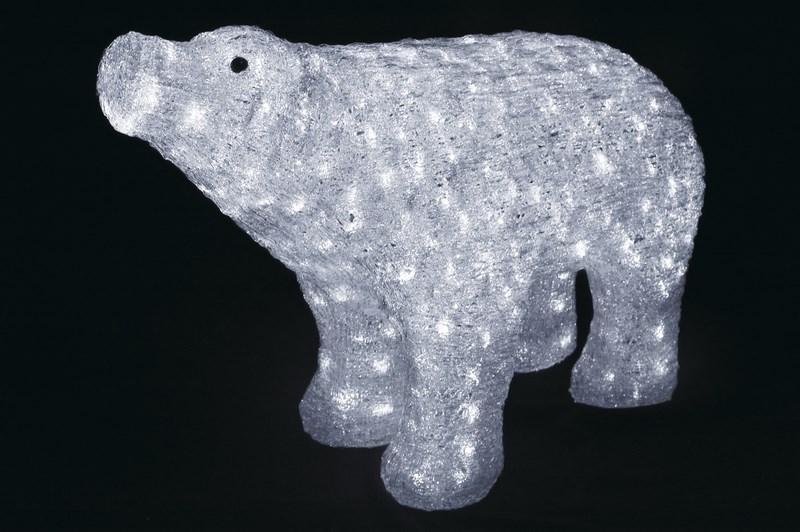 Фигура акриловая светодиодная Neon-Night Белый медведь, с понижающим трансформатором, 80 х 55 см513-302Акриловые фигуры за несколько лет вызвали большой интерес у дизайнеров и частных клиентов. С каждым годом расширяется не только ассортимент акриловых фигур, но и появляются новые технологии нанесения акрила. Эти яркие, светящиеся объемные фигуры, состоящие из металлического каркаса, акрила и светодиодов, применяются для оформления и создания новогодней атмосферы в кафе, ресторанах, торговых центрах, магазинах, на площадях и перед входом, а также просто в частных домах и квартирах. Все фигуры укомплектованы понижающим трансформатором , что обеспечивает безопасность при контактировании, а так же имеют степень защиты IP 44, что позволяет использовать их как в помещении, так и на улице. Акриловая светодиодная фигура Белый медведь высотой 80 см, светящаяся более чем 400 ярких диодов, выполнена по специальной технологии нанесения акрила имитируя шерстяной покров реального животного. Она позволит Вам создать ту самую, настояющую новогоднюю атмосферу и принести сотни радостных улыбок.