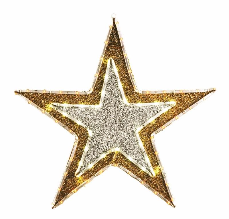 Фигура Звезда бархатная, с постоянным свечением, размеры 61 см (81 светодиод желтого+белого цвета)514-011Фигура Звезда имеет цветовое заполнение из специального материала, благодаря этому она выглядит празднично не только в темное время суток, когда радует глаз своим свечением, но и днем, отражая свет и переливаясь при попадании солнечных лучей.