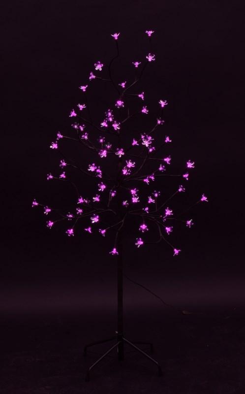 Дерево комнатное Neon-Night Сакура, светодиодное, 80 LED, с трансформатором, цвет: розовый, 120 см531-248Дерево комнатное Сакура, коричневый цвет ствола и веток, высота 1,2 метра, 80 светодиодов розового цвета, трансформатор IP44, длина шнура питания 10 метров, основание металлическая крестовина