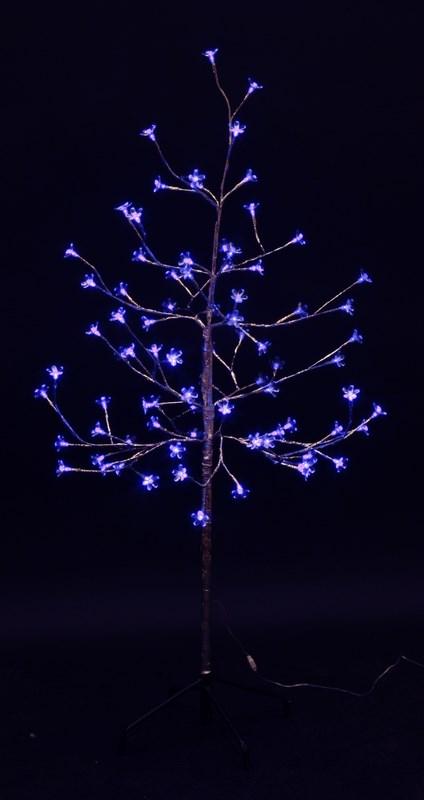 Дерево комнатное Neon-Night Сакура, светодиодное, 80 LED, цвет: синий, с трансформатором, 120 см531-253Дерево комнатное Сакура, ствол и ветки обернуты фольгой, высота 1,2 метра, 80 светодиодов синего цвета, трансформатор IP44, длина шнура питания 10 метров, основание металлическая крестовина