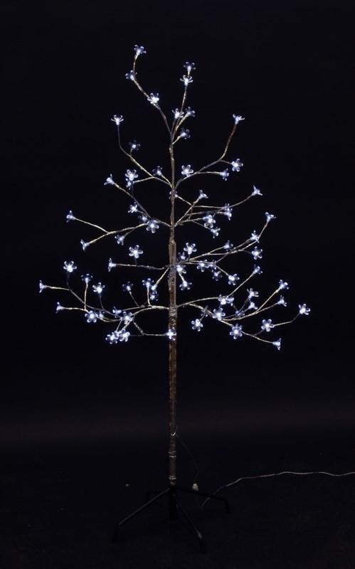 Дерево комнатное Neon-Night Сакура, светодиодное, 80 LED, цвет: белый, с трансформатором, 120 см531-255Дерево комнатное Сакура, ствол и ветки обернуты фольгой, высота 1,2 метра, 80 светодиодов белого цвета, трансформатор IP44, длина шнура питания 10 метров, основание металлическая крестовина