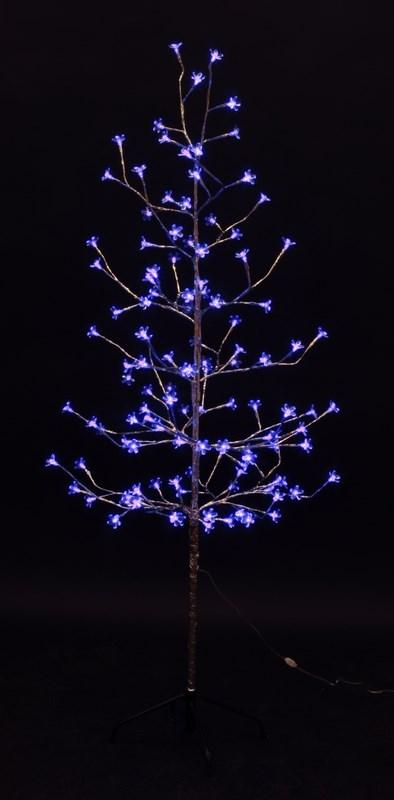 Дерево комнатное Neon-Night Сакура, светодиодное, 120 LED, цвет: синий, с трансформатором, 150 см531-273Дерево комнатное Сакура, ствол и ветки обернуты фольгой, высота 1,5 метра, 120 светодиодов синего цвета, трансформатор IP44, длина шнура питания 10 метров, основание металлическая крестовина