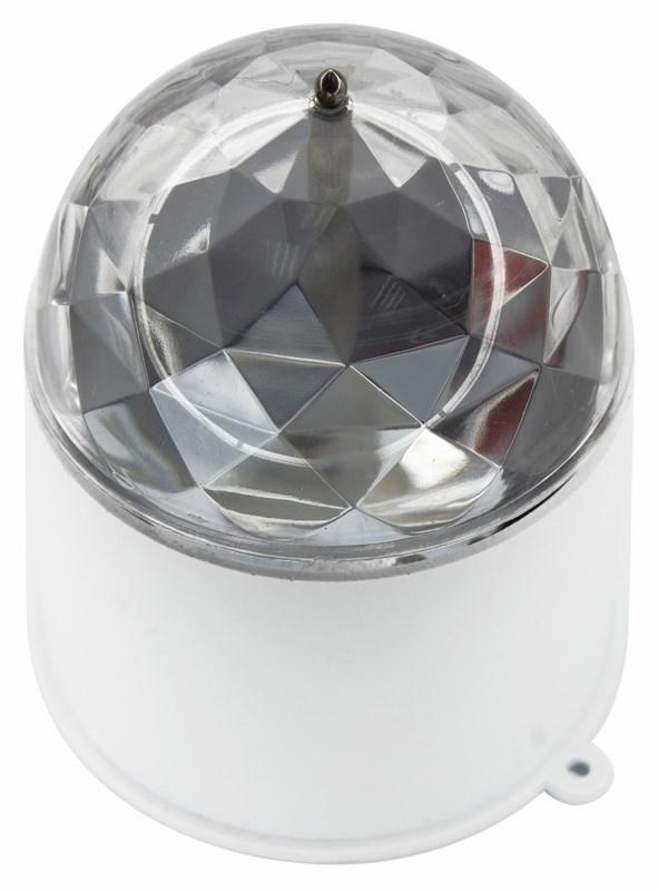 Диско-лампа светодиодная Neon-Night, в компактном корпусе, 220В601-252Светодиодная диско-лампа представляет собой устройство для создания эффекта светомузыки. Выполена из пластикового корпуса в виде цилиндра с прозрачным преломляющим куполом сверху. Специальные отверстия в корпусе позволяют смонтировать диско-лампу на стену или потолок. Поставьте такую диско-лампу в любое удобное для вас место в помещении, дома или на даче и включите ее в сеть 220В. Праздничное настроение для вашей вечеринки обеспечено!