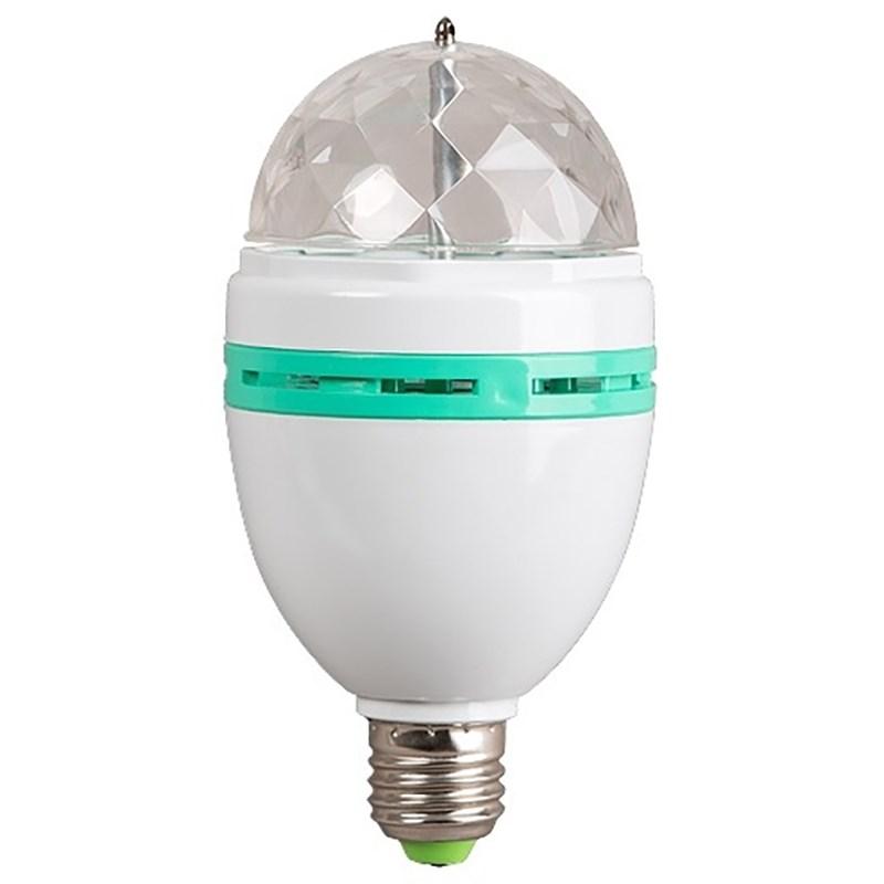 Диско-лампа светодиодная Neon-Night, цоколь Е27, 220В601-253Светодиодная диско-лампа представляет собой устройство для создания эффекта цветомузыки. Выполнена из пластикового корпуса в виде привычной лампочки, содержит внутри моторчик, который создает динамическое вращение потока разноцветных лучей. Благодаря цоколю E27 вы можете легко вкрутить диско-лампу в Вашу люстру или торшер и устроить настоящую вечеринку прямо у вас дома или на даче. Также можете использовать цоколь с выключателем (приобретается отдельно) - просто вкрутите в него Вашу диско-лампу и подключите переходник в розетку 220В.