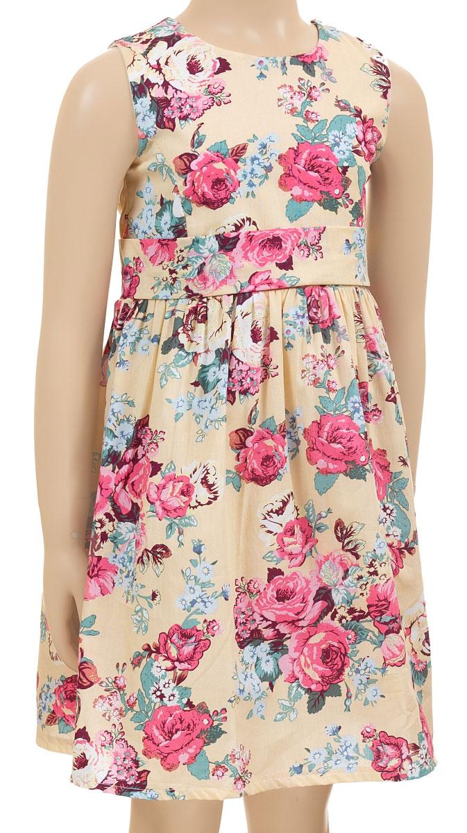 Платье для девочки M&D collection, цвет: мультиколор. SSP1618-10. Размер 98SSP1618-10Очаровательное платье для девочки M&D collection идеально подойдет вашей маленькой моднице. Платье на подкладке изготовлено из натурального хлопка, легкое и приятное к телу. Платье с круглым вырезом горловины застегивается по спинке на скрытую молнию, что помогает при переодевании ребенка. От линии талии заложены складочки, придающие изделию пышность и воздушность. На талии платье дополнено вшитым поясом. Изделие оформлено красочным цветочным принтом.