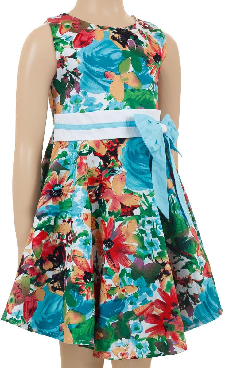 Платье для девочки M&D collection, цвет: мультиколор. SSP1615-10. Размер 98SSP1615-10Очаровательное платье для девочки M&D collection идеально подойдет вашей маленькой моднице. Платье на подкладке изготовлено из натурального хлопка, легкое и приятное к телу. Платье с круглым вырезом горловины застегивается по спинке на скрытую молнию, что помогает при переодевании ребенка. На талии платье дополнено вшитым поясом и текстильным оригинальным бантиком. Изделие оформлено красочным цветочным цветочным принтом.