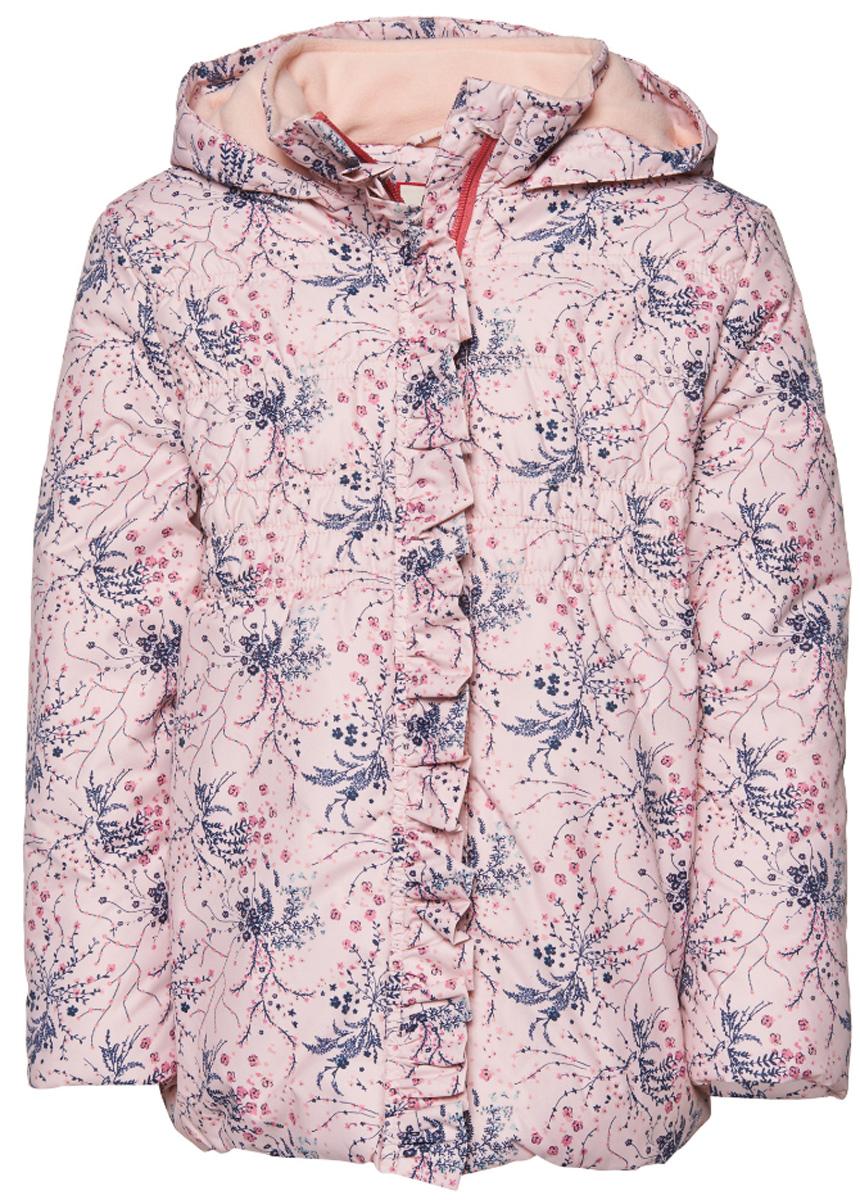 Куртка для девочки Tom Tailor, цвет: розовый. 3532671.00.81_5571. Размер 104/1103532671.00.81_5571Куртка с оригинальным принтом декорирована рюшами. Модель приталенного кроя с высоким воротник на молнии. Дополнена флисовой подкладкой.