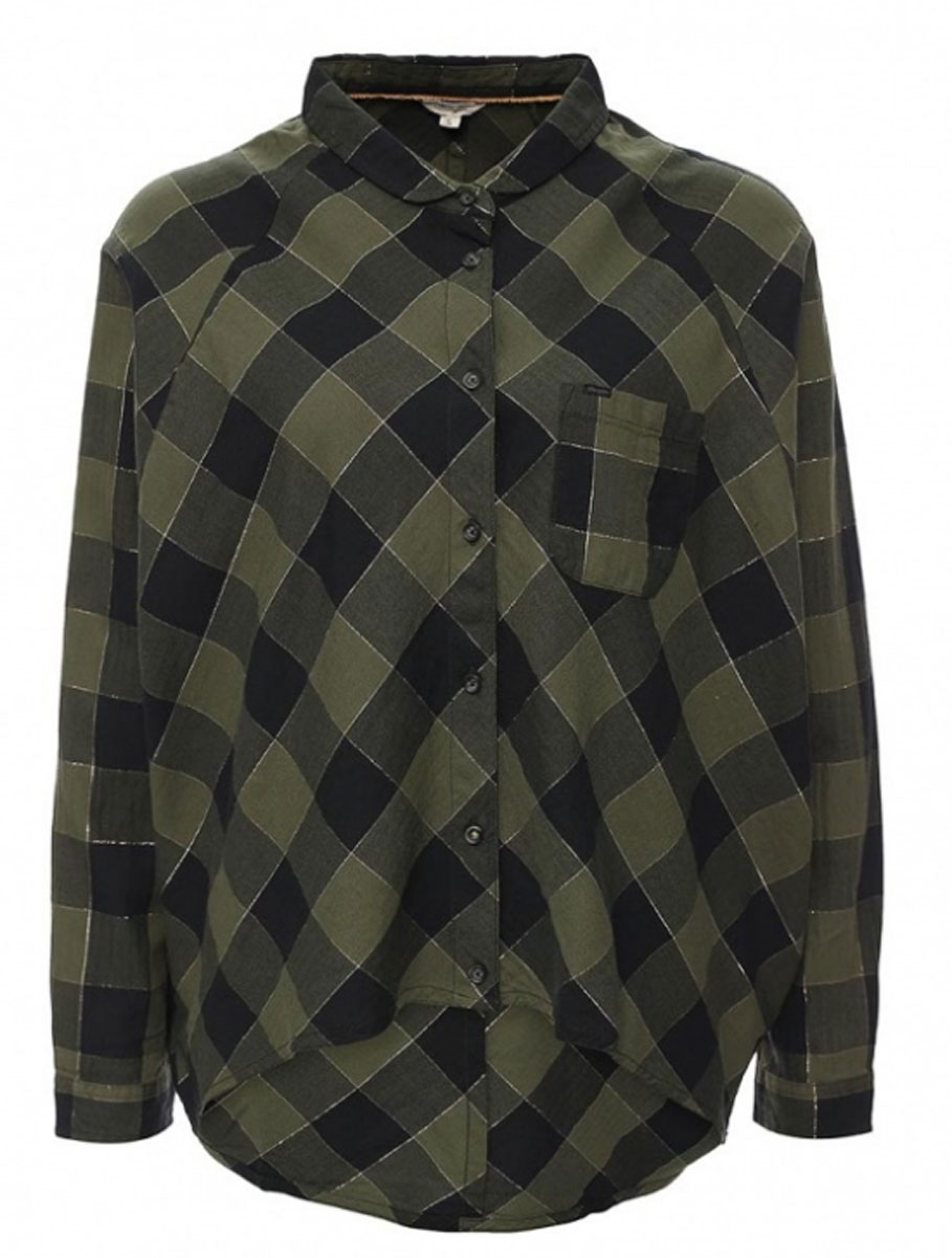 Рубашка женская Wrangler, цвет: темно-зеленый. W5176C8FR. Размер L (48)W5176C8FRСимпатичная женская рубашка Wrangler, изготовлена из высококачественного материала. Модная рубашка с рукавами летучая мышь и отложным воротником, полукруглым низом, застегивается на пуговицы. Спинка модели удлинена. Спереди изделие дополнено накладным кармашком.