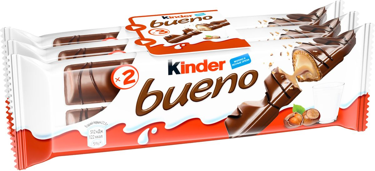Kinder Bueno вафли в молочном шоколаде с молочно-ореховой начинкой, 3 шт по 43 г77072031/77083898/77132689Xрустящая вафля, покрытая молочным шоколадом с нежной молочно-ореховой начинкой.